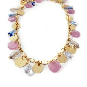 Long Lavender & Gold Mini Coin Layering Necklace